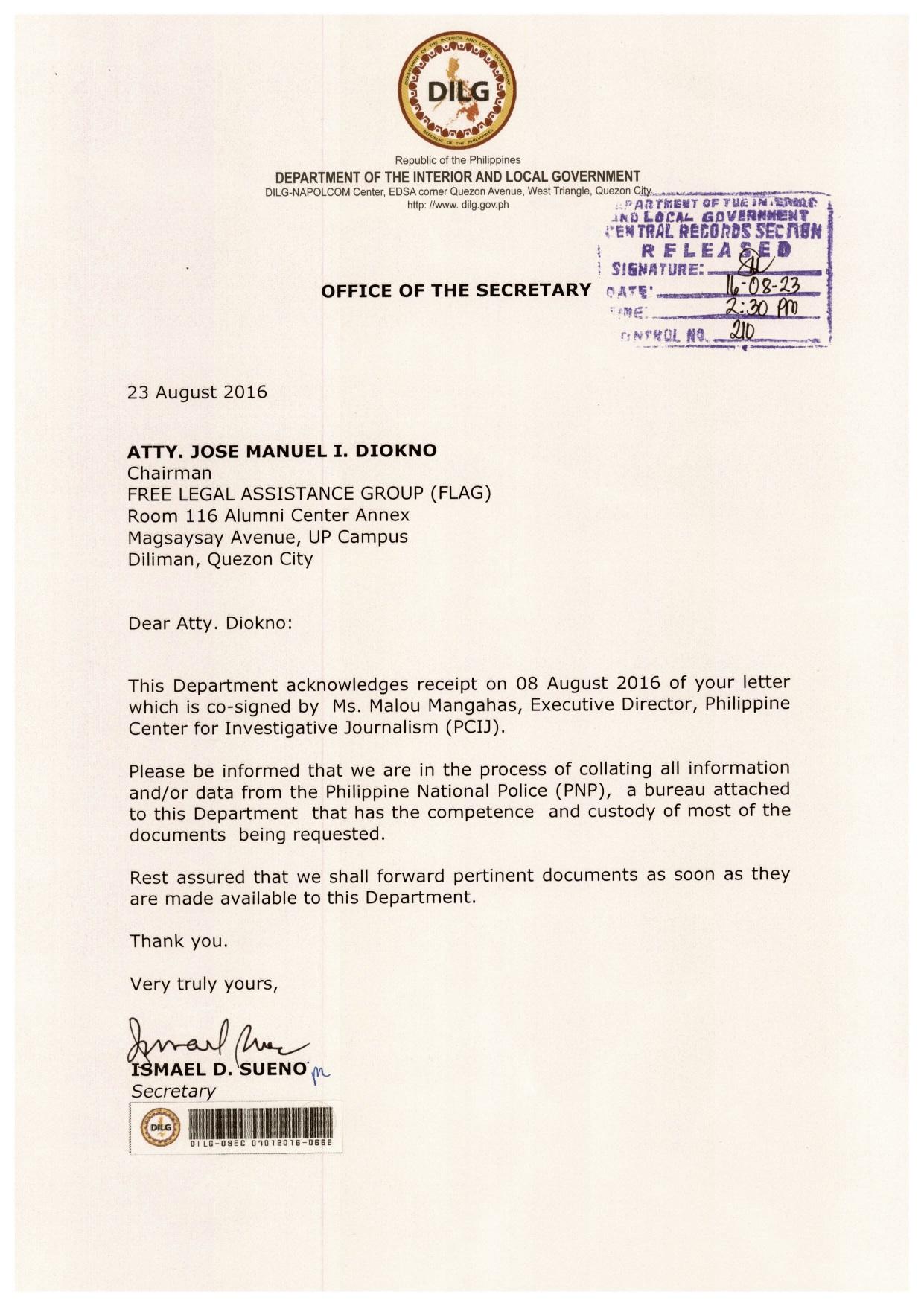 DOJ Received No FOI Request Check Your Facts Mr Aguirre